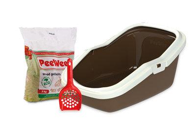 Peewee open kattenbak EcoMinor bruin / ivoor