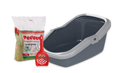 Peewee open kattenbak EcoMinor grijs