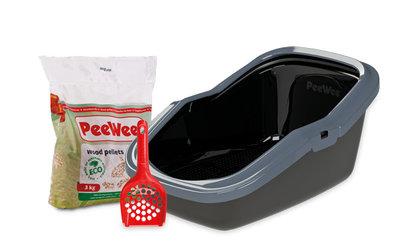 Peewee open kattenbak EcoMinor zwart / antraciet