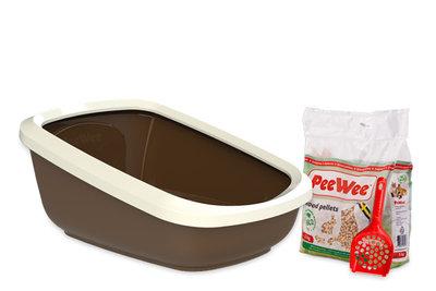 Peewee extra grote open kattenbak EcoGranda bruin / ivoor
