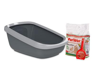 Peewee extra grote open kattenbak EcoGranda grijs