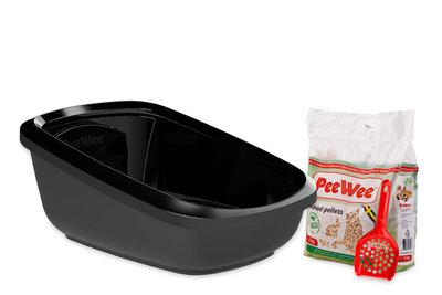 Peewee extra grote open kattenbak EcoGranda zwart